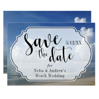 Fat Clouds Over Beach Photo w/ Badge Save the Date Card