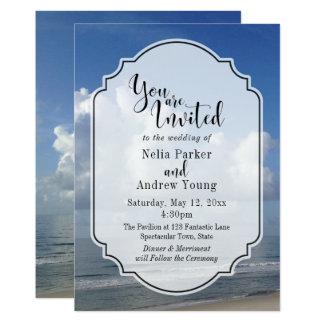 Fat Clouds Over Beach Photo w/ Badge Wedding 3 Card