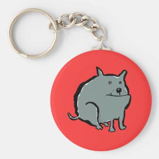fat dog basic round button key ring