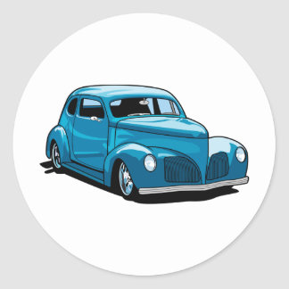 Fat Fendered Hot Rod Coupe Round Sticker