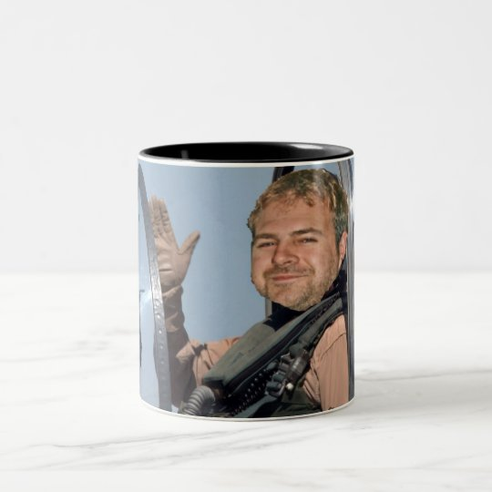 fat guy in a harrier Two-Tone coffee mug