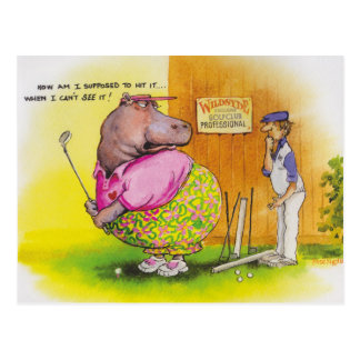 fat hippo golf postcard