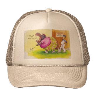 Fat hippo playing golf cap
