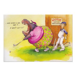 Fat hippo playing golf photo art
