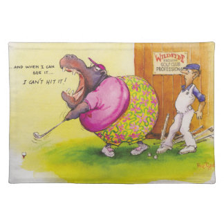 Fat hippo playing golf placemat