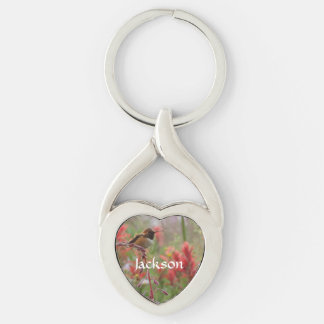 Fat little bird Silver-Colored twisted heart key ring