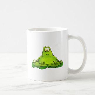 Fat meditating frog basic white mug