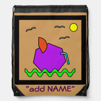 Fat Mouse abstract art for kids Drawstring Bag