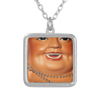 Fat orange Buddha Silver Plated Necklace