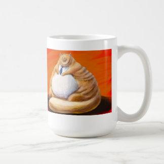 fat orange cat with tie mugs
