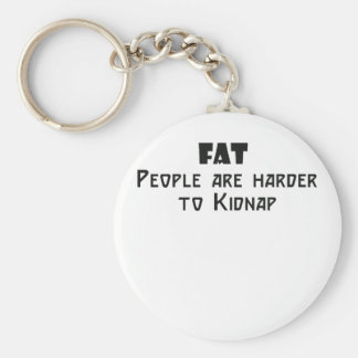 fat people are harder to kidnap basic round button key ring