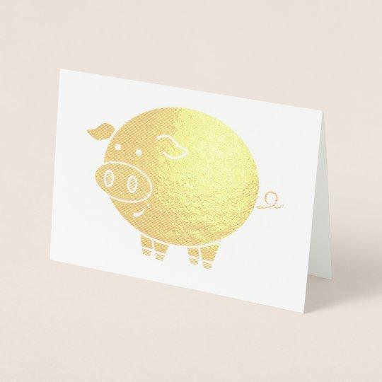 Fat Pig Cartoon Foil Card
