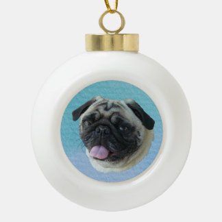 Fat Pug Portrait Ceramic Ball Christmas Ornament