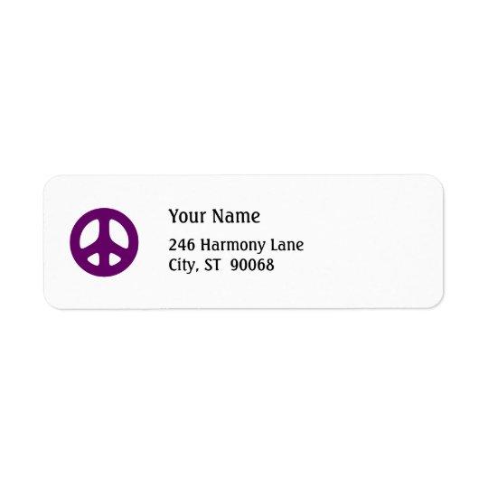 Fat Purple Peace Sign Custom Return Label
