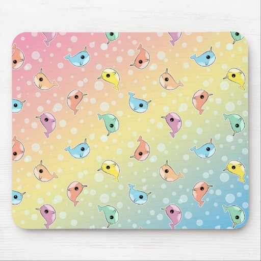 Fat Rainbow Narwhal Pattern Mouse Pads