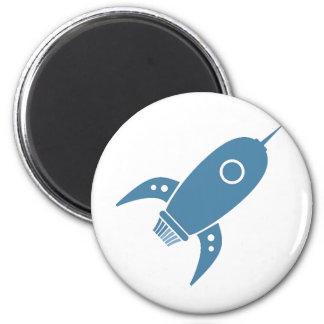 Fat Retro Rocket Ship Blue 6 Cm Round Magnet