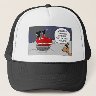 Fat Stuck Santa Funny Christmas Dancing Cartoon Trucker Hat