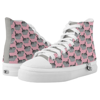 Fat Tabby Cat Hi Top in Pink Printed Shoes