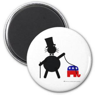 Fatcat and Republican Elephant 6 Cm Round Magnet