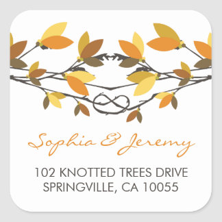 fatfatin Autumn Knotted Love Trees Address Labels Square Sticker