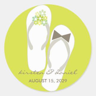 fatfatin Beach Green Flip Flops Wedding Sticker Round Sticker