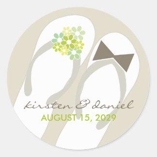 fatfatin Beach Green Flip Flops Wedding Sticker