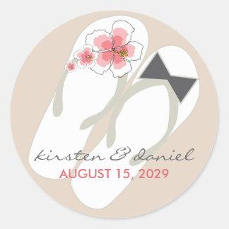 fatfatin Beach Hibiscus Flip Flops Wedding Sticker Round Sticker