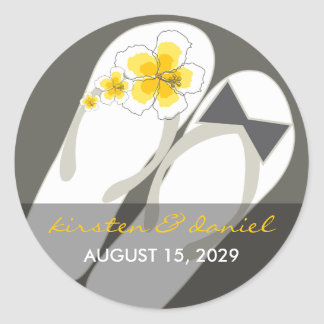 fatfatin Beach Hibiscus Flip Flops Wedding Sticker
