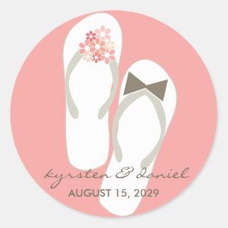 fatfatin Beach Pink Flip Flops Wedding Sticker Round Sticker