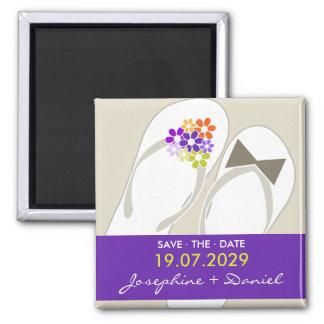 fatfatin Beach Purple Flip Flops Save The Date Square Magnet