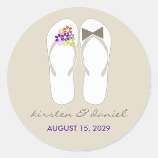 fatfatin Beach Purple Flip Flops Wedding Sticker Round Sticker