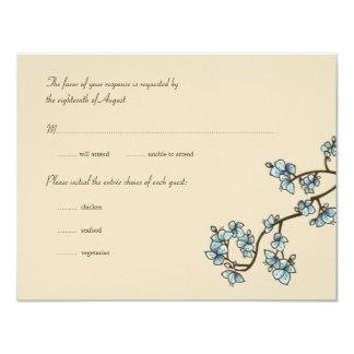 fatfatin Blue Peach Blossoms Wedding RSVP Card 11 Cm X 14 Cm Invitation Card