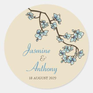 fatfatin Blue Peach Blossoms Wedding Sticker