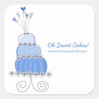 fatfatin Blue Wedding Cake Business Sticker