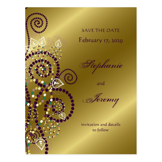 fatfatin Boho Purple Spirals Gold Save The Date