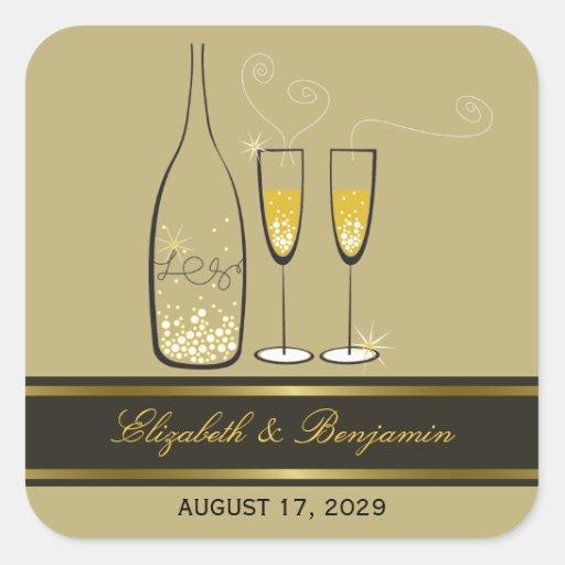 fatfatin Champagne Bubbles Gold Wedding Sticker