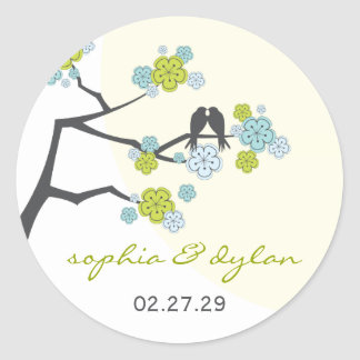 fatfatin Cherry Blossoms Love Birds Wedding Sticke Round Sticker
