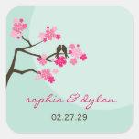 fatfatin Cherry Blossoms Love Birds Wedding Sticke Stickers