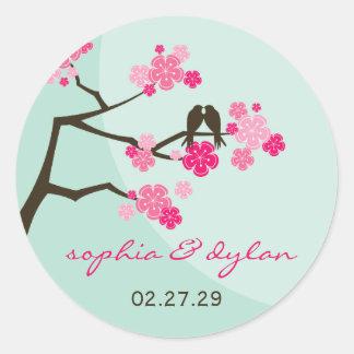 fatfatin Cherry Blossoms Love Birds Wedding Sticke Round Stickers