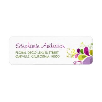 fatfatin Colorful Floral Deco Leaves Custom Label Return Address Label