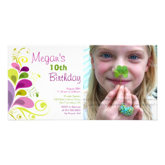 fatfatin Colorful Floral Leaves Birthday Invite Customized Photo Card