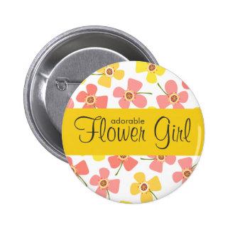 fatfatin Daisy Pop Pink Wedding Name Tag Button