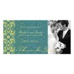 fatfatin Damask Swirls Lace Peacock Thank You 2 Personalized Photo Card