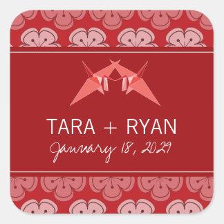 fatfatin Double Paper Cranes Sakura Wedding Sticke Square Sticker