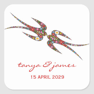 fatfatin Double Swallows Spring Flowers Wedding St Square Sticker