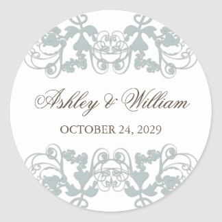 fatfatin Floral Flourish Blue Gray Wedding Sticker