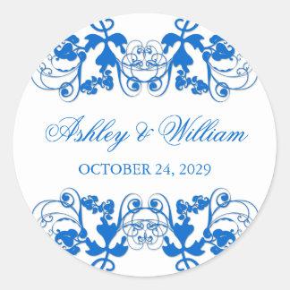 fatfatin Floral Flourish Blue Wedding Sticker