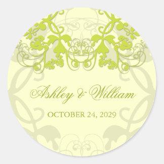 fatfatin Floral Flourish Lime Wedding Sticker