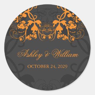 fatfatin Floral Flourish Orange Wedding Sticker Sticker