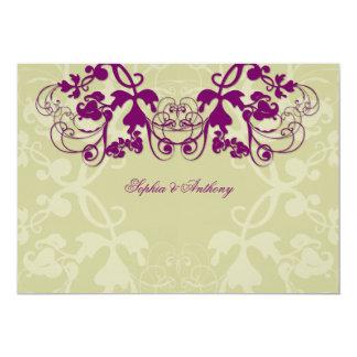 fatfatin Floral Flourish Purple Wedding Invitation Announcements